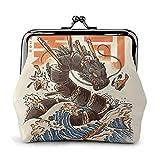 Gran monedero de cuero para cambio de monedero de dragón de sushi, cierre de beso, mini bolsas de maquillaje para mujeres y niñas
