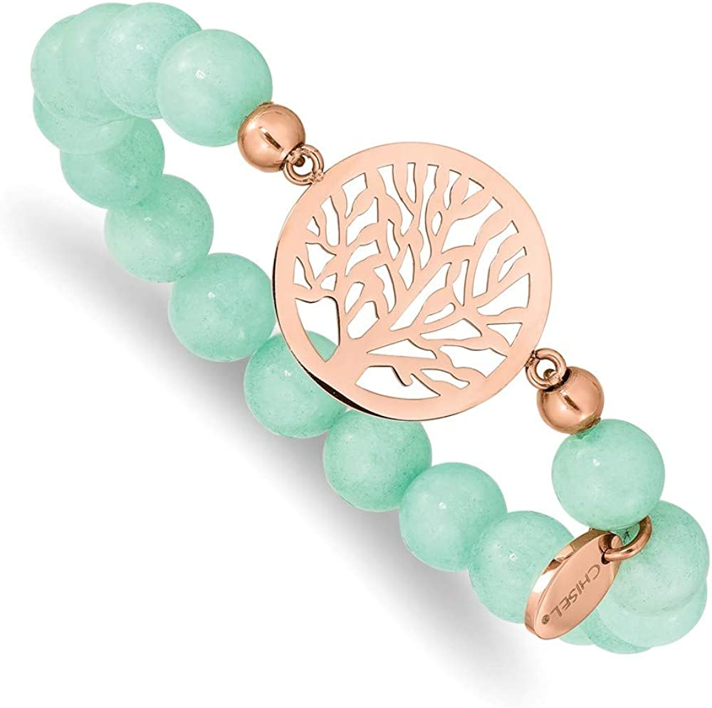 Stainless Steel Rose IP Tree Green Stretch Super special Finally resale start price Dyed Bracelet Jade W