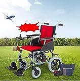 Cmn Silla de ruedas/Scooter para adultos mayores al aire libre Control remoto plegable ligero Silla de ruedas eléctrica Motorizado, plateado - El avión plegable más liviano y listo para crucero