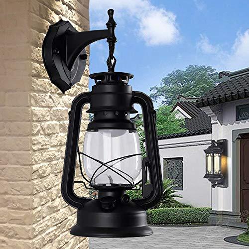 YUNRUX Retro industriële buitenlantaarn, antieke wandlamp, wandlamp, vintage, wandverlichting, buitenwandlamp, lantaarn, patio, verlichting, binnen, booglamp, wandlamp, licht, zwart