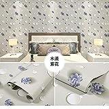 LZYMLA - Papel pintado autoadhesivo de PVC, para dormitorio, sala de estar, habitación de los niños, decoración de gabinete, impermeable, fondo de pared, 60 cm x 5 m, diseño de flores moradas