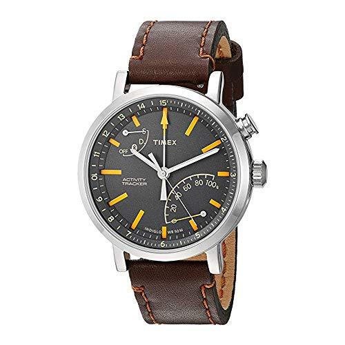 Timex Herren-Armbanduhr 42mm Armband Leder Gehäuse Edelstahl Quarz TW2P92300