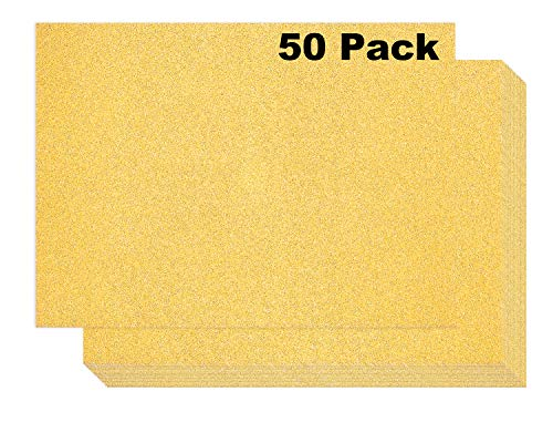 50 Gold Glitter Cardstock - Double Sided Non-Adhesive Glitter Sheet - 400 GSM Gold Glitter Paper for Arts and Craft, DIY Glitter Paper for Invitations, Projects - 8.5 x 11 inches (50 Pack)