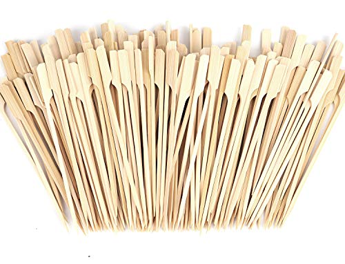 Lawei 500 Pack Bamboo Skewers - 7 inch Bamboo Picks Paddle Skewers BBQ Picks for Outdoor Grilling, Kebab, Fondue and More