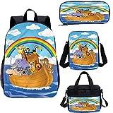 Mochila de dibujos animados de 15 pulgadas con bolsa de almuerzo,Conjunto de estuche,Animales de diseño infantil 4 en 1 conjuntos de mochila