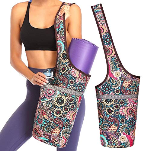 Ducomi Bolsa para Esterilla de Yoga - Funda para Gimnasio con Bolsillo para Agua, Toalla y Accesorios - Bolsa Funcional de Bandolera para Deporte, Fitness, Pilates - Regalo Mujer (Namasta)