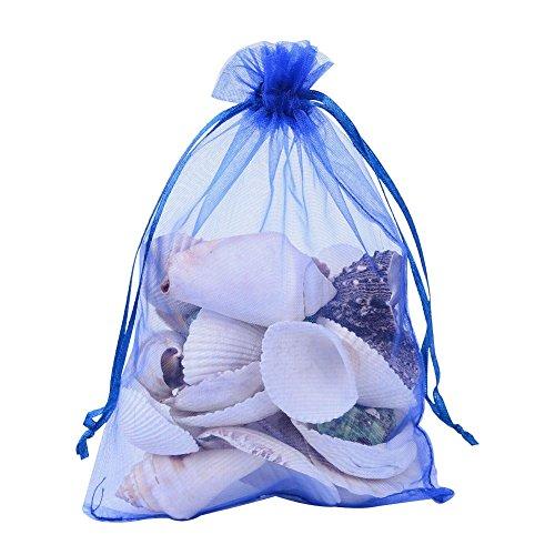Pandahall 100 PCS 5x7 inch Blue Organza Drawstring Bags Party Wedding Favor Gift Bags