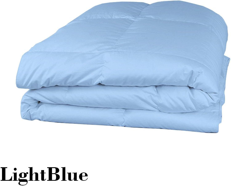 Dreamz Parure de lit Super Doux 350Fils 100% Coton 1Housse de Couette (100g m2 Fibre Fill) UK Petite Taille Unique Longue, Bleu Clair Bleu Ciel Solide Coton égypcravaten 350tc Doudou