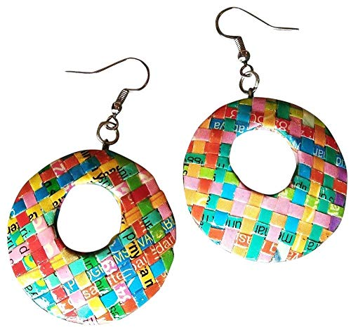 Earrings Made From Magazine Paper - Fun creative design reclaimed salvaged