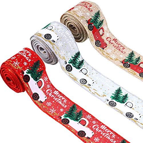 3 Rolls Christmas Ribbon Christmas Wired Edge Ribbons Merry Christmas Tree and Truck Wired Ribbon Wrapping Ribbon for DIY Wreaths Wrapping Crafts Decoration, 2 Inch x 5 Yard