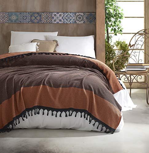Nefes Tagesdecke Überwurf Decke - Wohndecke hochwertig - perfekt für Bett & Sofa, 100prozent Baumwolle - handgefertigte Fransen, 200x250cm (Hellbraun)