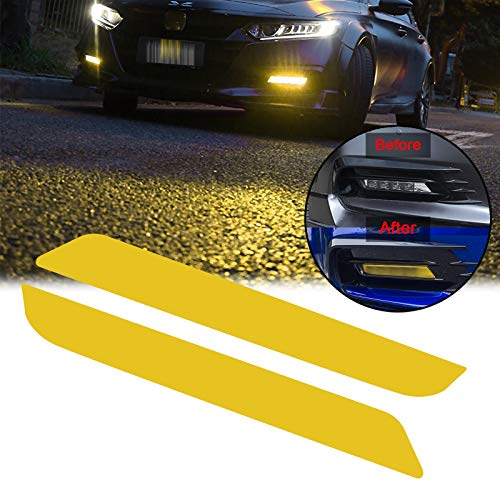 Xotic Tech for Honda Accord 2018 2019 Front Fog Light DRL Overlay Vinyl Decal Tint, 2pcs Yellow PVC Film Sticker Trim Wrap Overlay Sheet Decal
