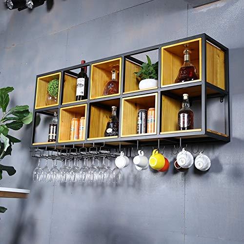 BFDMY Estante para Botellas De Vino, Estante para Botellas De Vino, Estante para Botellas con Soporte para Copa De Vino, Hecho De Pino Consta De 10 Celdas para Bar, Comedor Y Cocina