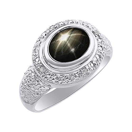 Anillo de plata de ley con diamantes de imitación y estrella negra, anillo de piedra de nacimiento de color