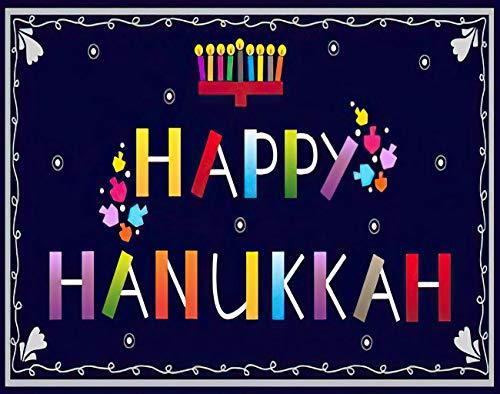 MQPPE Happy Hanukkah 5D DIY Diamond Painting Kits, Menorah and Dreidels Candles Colorful Dreidel Festive Hebrew Full Drill Painting Arts Set Craft Canvas for Home Wall Decor Adults Kids, 12' x 16'