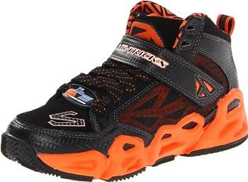 Skechers Kids 95775L Hoopz Basketball Sneaker,Black/Orange,11 M US Little Kid