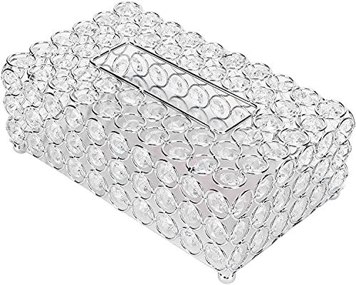 RosieLily Cubierta De La Caja De Tejido De Cristal Rectangular, Tapa del Tejido De La Cubierta del Tejido Decorativo, Titular De Tejido Facial del Contenedor De Las Servilletas De Cristal