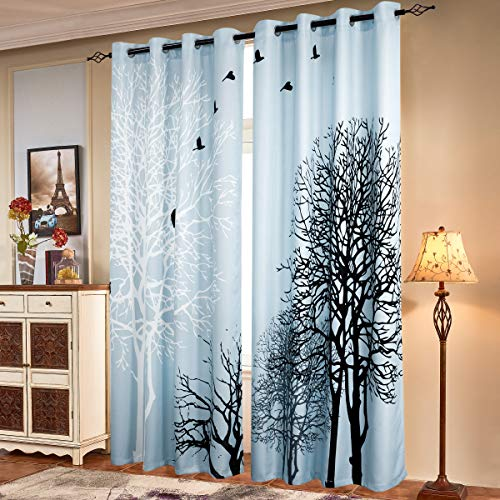 Subrtex Printed Curtains Blackout for Bedroom Living Room Kids Room Dining Room Valance Colorful Window Drapes 2 Panel Set (52'' x 95'' , Light Blue)