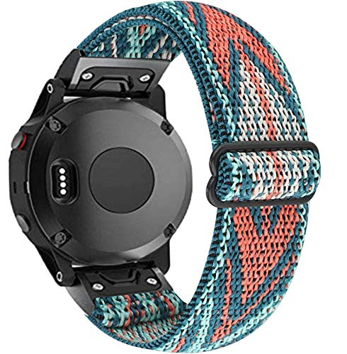 Olytop 26mm Elastic Band for Fenix 5X Bands/5X Plus Band/Fenix 6X Pro Bands, Quickly Fit Soft Stretch Lightweight Breathable Wristband for Garmin Fenix 5X/6X/6X Pro Smartwatch-Green Arrow