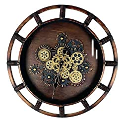 SevenUp Steampunk Wall Clock Large Metal Quartz Movement Gear Clocks, 26, Vintage Design, Oil Rubbed Antique Bronze Finished, Steampunk Farmhouse Rustic Vintage Silent Wall Décor Timer