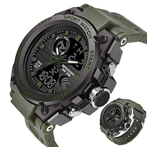 SANDABand Sport Herrenuhren Top-Marke Military Quarzuhr Männer wasserdicht S Shock Clock,ArmyGreen