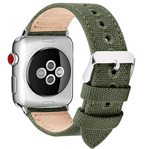 Fullmosa Cinturino per Apple Watch 38mm/40mm, Cinturini in Tela di Ricambio Compatibile con iWatch 5/4/3/2/1, Fibbia in Acciaio Inossidabile, 38mm(40mm), Verde