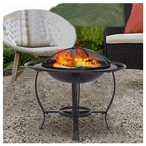 Outdoor Fire Pit - 26 Inch Bonfire Wood Burning Patio & Backyard Firepit for Outside,Round Fireplace Cover, Firepit Metal Backyard Patio Garden Stove Fireplace With Poker,Black