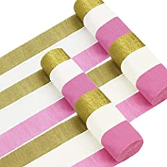 This is a super-value set containing 4 rolls gold crepe paper, 4 rolls white crepe paper, 4 rolls pink crepe paper Color: gold, white, pink Size: each roll 4.5cm/1.77inch wide, 25 meters/82ft long Each roll of paper are bundled neatly, easy to unlock...