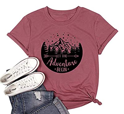 HDLTE Camping Tshirt Women Let The Adventure Begin Letters Print Travel Hiking Tee Tops(Red,S)
