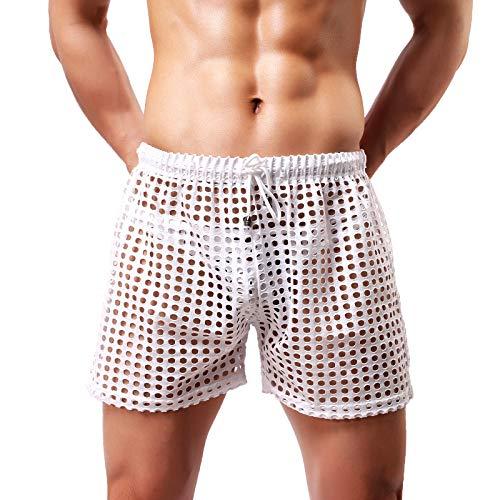 Arjen Kroos Herren Boxershorts Sexy Unterwäsche Transparent Netz Lange Atmungsaktive Freizeit Boxer Shorts Sportunterhose
