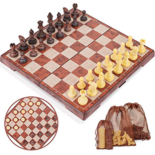 Peradix Chess Checkers Set 2 in 1, Magnetic Chess Pieces with 3 Storage Bags, Portable Travel Folding Board Game, Big Size, Educational Learning Toys for Kids Adults, Birthday