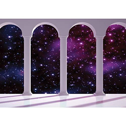 Vlies Fototapete PREMIUM PLUS Wand Foto Tapete Wand Bild Vliestapete - Sterne Sternenhimmel Weltall Weltraum Terrasse Säulen - no. 2333, Größe:368x254cm Vlies