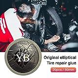 Rubyu 20pcs/80mm Selbstklebendes Autoreifen Patch, Motorradreifen Puncture Repair Patches, für Auto Motorrad zur Abdichtung von Reifen, Selbstklebende Flicken Schwarz
