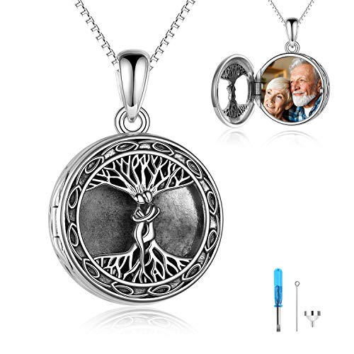 Sterling Silver Celtic knot Tree of life Urn Necklace for Ashes Round Locket That Holds Pictures for Women Ashes Necklace Keepsake Memorial Ash Jewelry