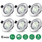 Elfeland 6 Pack Spots LED Encastré GU10 28 x 2835 SMD LEDs 5W Étanche IP44 Spots de Plafond AC 265V Blanc Chaud 3000K 450lm 45°orientable Plafonnier Encastré pour Salon Cuisine Escaliers etc