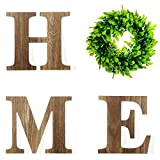Wooden Letters Home Sign Artificial Wooden Letters H M E with Round Boxwood Wreath Unfinished Wood Letter Plastic Green Leaves Wreath for Rustic Home Wall Door Decoration (Brown)
