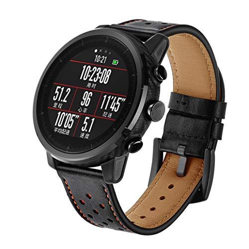 ☀️Modaworld Pulsera de Reloj de Cuero Pulsera de muñequera para Amazfit Stratos 2 / 2S Smart Watch Correas de Reloj Inteligente Pulseras de Repuesto (Negro, para Amazfit Stratos 2 / 2S)