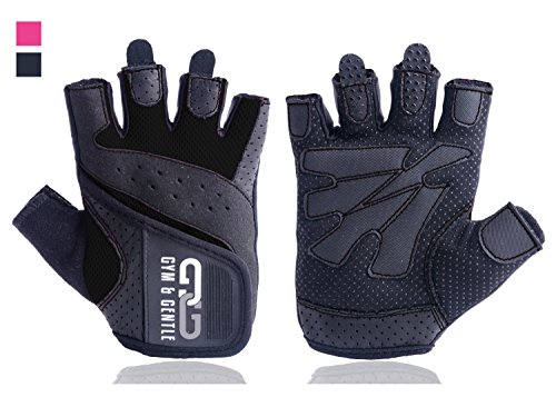 Gym & Gentle Fitness Handschuhe Damen/Herren - Trainingshandschuhe/Handgelenkstütze -Krafttraining/Bodybuilding/Crossfit (Schwarz, M)