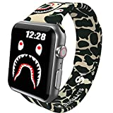 Sport Band Compatible with Apple Watch Band 42mm 44mm Men Boys, Fashion Street Camo Shark Design Silicone Watch Bands for iWatch Series 6 5 4 SE 3 2