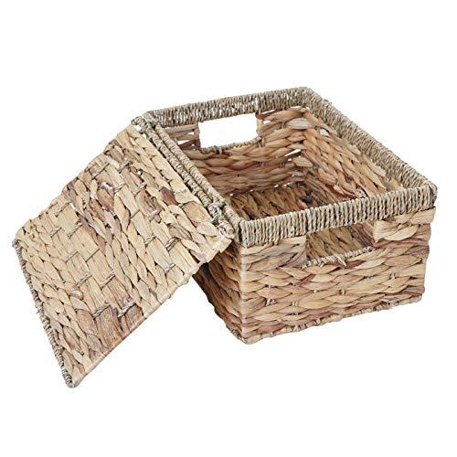 Mendler 3er Set Aufbewahrungsbox HWC-C23, Truhe Kiste Box mit Deckel, Wasserhyazinthe naturfarben - 3