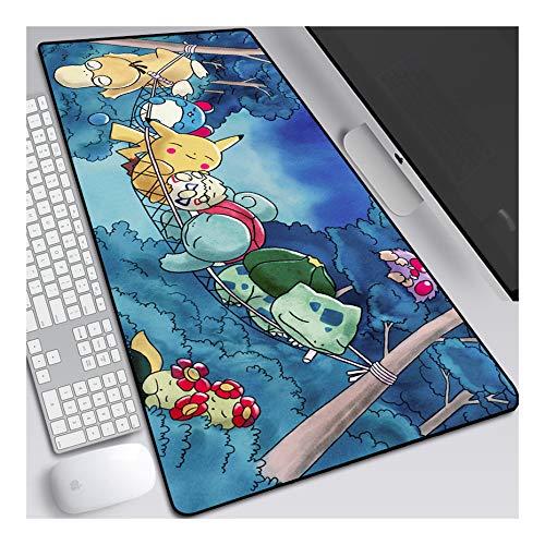 ITBT Pokemon 900x400mm Tapis de Souris XXL Multifonction Gaming Mousepad XXL Grand sous Main, Anime Souris 3mm Bureau Anti-Glissant Surface Texturée pour Ordinateur, B
