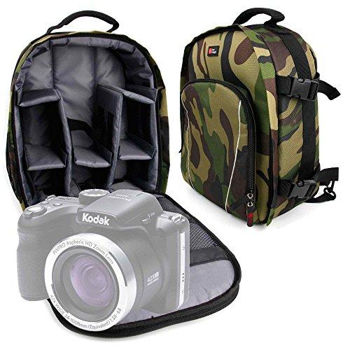 DURAGADGET Mochila Camuflaje para Cámara Kodak Pixpro AZ422 con Compartimentos Desmontables +...