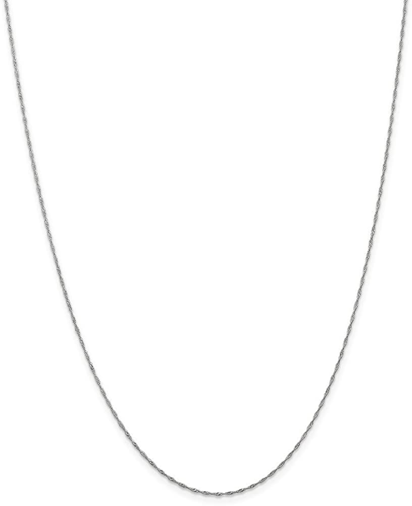 Solid 14k White Gold 1mm Singapore Chain Necklace