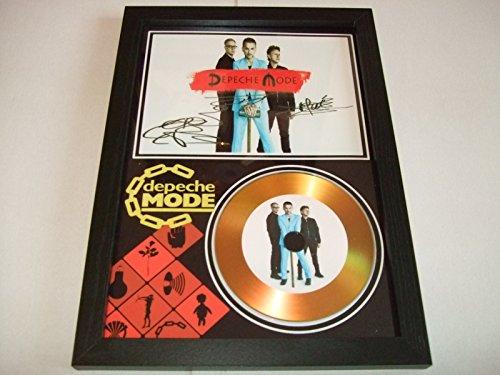 Von Depeche Mode signierte goldfarbene Schallplatte.