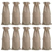 10 bustine di vino della tela da imballaggio, sacchi di vino di iuta 35 x 15 cm sacchetti di vino regalo di stoccaggio custodie di vino borse da organizzazione con sacchetti di iuta (marrone)