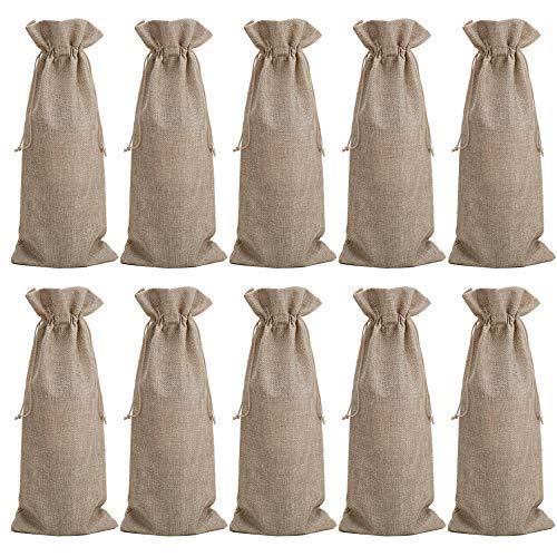 10 Bolsas de vino de arpillera, Bolsas de vino de yute Bolsas de vino de 35 x 15 cm Bolsas de vino para guardar regalos Bolsas de organización con bolsas de yute (marrón)