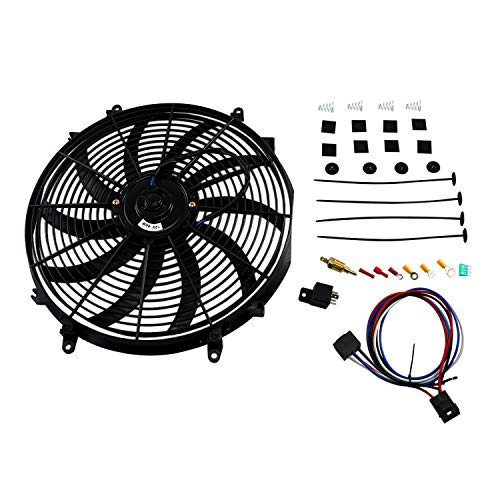 Performance 16 inch Electric Radiator Cooling Push/Pull Fan Assembly+ Fan Thermostat
