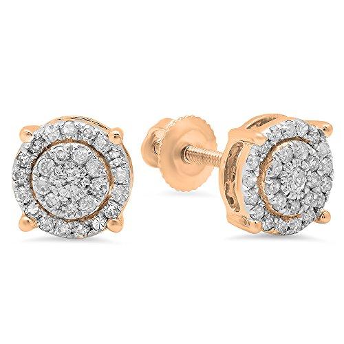 Dazzlingrock Collection 0.35 Carat (ctw) 10K Round White Diamond Ladies Circle Halo Stud Earrings, Rose Gold (0.35 Ct Fancy Diamond)