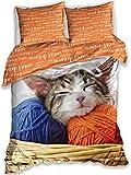 Juego de cama de 100% algodón con funda de edredón de 140 x 200 cm, funda de almohada de 70 x 90 cm, perfecto para los amantes de los gatos