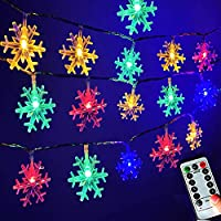 Darknessbreak Warm White Color Changing Christmas Snowflake Lights